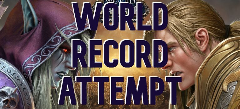 """World Record Attempt"" over a World of Warcraft title screen"