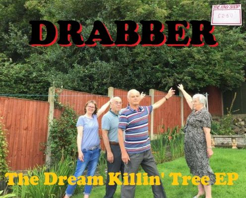 "Photoshopped image of people pointing to a tree, made up to look like an album cover for ""Drabber"", a play on Abba."